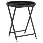 vidaXL Tea Table Black 60 cm Poly Rattan and Tempered Glass