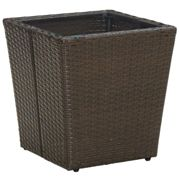 vidaXL Tea Table Brown 41.5x41.5x44 cm Poly Rattan and Tempered Glass