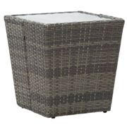 vidaXL Tea Table Grey 41.5x41.5x43 cm Poly Rattan and Tempered Glass