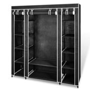vidaXL Fabric Wardrobe with Compartments and Rods 45x150x176 cm Black