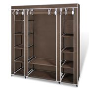 vidaXL Wardrobe with Compartments and Rods 45x150x176cm Brown Fabric Closet