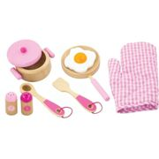 Viga Children's Wooden Kitchen Cooking Set - Pretend Play, Wooden Pots & Pans