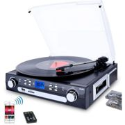Vinyl Record Player,Bluetooth Turntable with Stereo Speakers,Turntable for Vinyl to MP3 with Cassette Play,AM/FM Radio, Remote Control,USB/SD Encoding