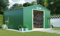 Waltons Metal Garden Storage Shed: Apex / Dark Green / 9.1' x 8.4'