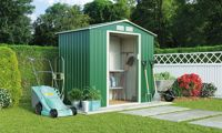 Waltons Metal Garden Storage Shed: Apex with Foundation Kit / Dark Green / 7' x 6.3'