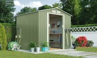 Waltons Metal Garden Storage Shed: Pent Deluxe with Foundation Kit / Dark Green / 7' x 4.2'
