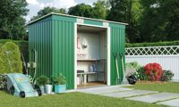 Waltons Metal Garden Storage Shed: Pent Deluxe with Foundation Kit / Dark Green / 8.6' x 4'