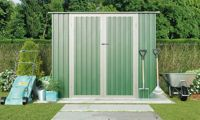 Waltons Metal Garden Storage Shed: Pent with Foundation Kit / Light Green / 8.6' x 4'