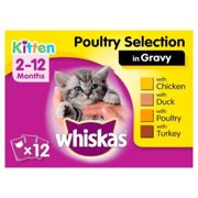 Whiskas 2-12 Months Poultry Selection in Gravy Kitten Food 100g x 12