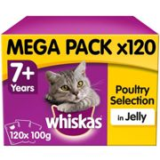 Whiskas 7+ Senior Cat Pouches Poultry Selection Cat Food Jelly 120x100g Megapack