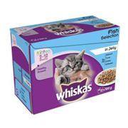 Whiskas Wet Kitten Food Fish Selection 12 Pouches