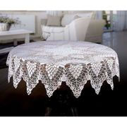 """White Tablecloth Round Lace Crochet Effect 59"""" (150cm)"""