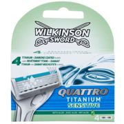 Wilkinson Sword Quattro Titanium Sensitive Replacement Blades 4 pc