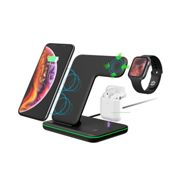 Wireless Charger,3 in 1 15W Fast Charging Station for Apple iWatch ,AirPods, iPhone -Black