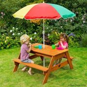 Wooden picnic table with parasol - Plum (7092071)
