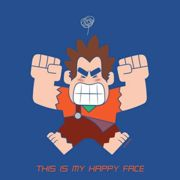 Wreck-it Ralph This Is My Happy Face Men's T-Shirt - Royal Blue - M - Royal Blue