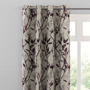 Zen Plum Jacquard Eyelet Curtains Beige, Grey and Purple