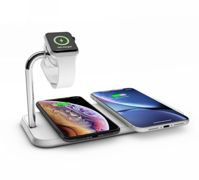 Zens Aluminium Dual Wireless Qi Charger with Apple Watch Series 10W charger - WHITE - ZEDC05W00